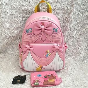 NWT Loungefly Cinderella Mini Backpack and Wallet